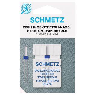 Schmetz - Zwillings-Nähmaschinennadel - 130/705 - Stretch - 75/2,5 mm