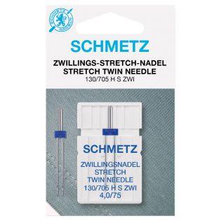 Schmetz - Zwillings-Nähmaschinennadel - 130/705 - Stretch - 75/4,0 mm