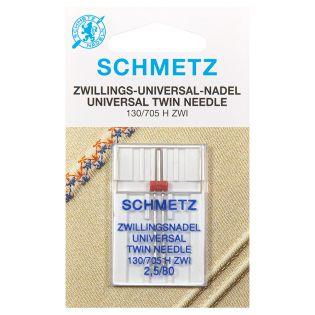 Schmetz - Zwillings-Nähmaschinennadel - 130/705 - Universal - 80/2,5 mm