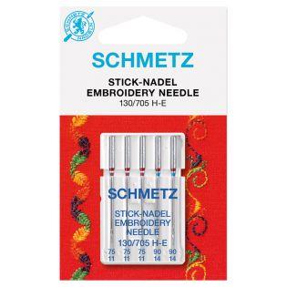 Schmetz - 5 Nähmaschinennadeln - 130/705 - Sticken - 75-90