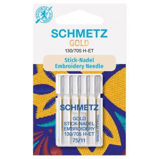 Schmetz - 5 Nähmaschinennadeln - Sticken - H-ET - 75/11