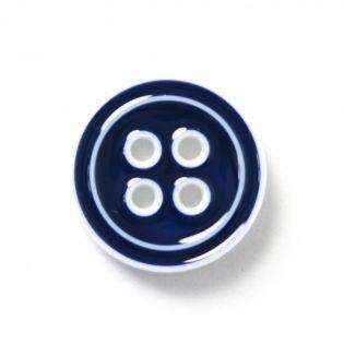 4-Loch-Knopf - 2-farbig - 20 mm - blau-weiss