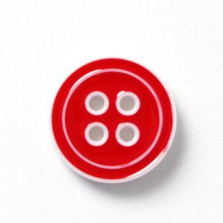 4-Loch-Knopf - 2-farbig - 20 mm - rot-weiss