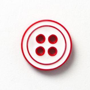 4-Loch-Knopf - 2-farbig - 20 mm - weiss-rot