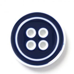 4-Loch-Knopf - 2-farbig - 28 mm - blau-weiss