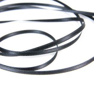 Satinband - Doubleface - 3 mm - schwarz