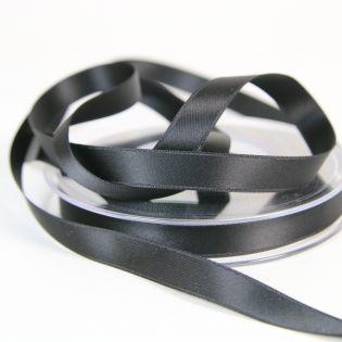 Satinband - Doubleface - 10 mm - schwarz