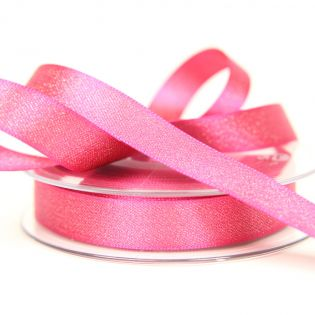 Satinband - Glitzer - gold - 15 mm - pink