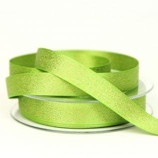 Satinband - Glitzer - gold - 15 mm - grün