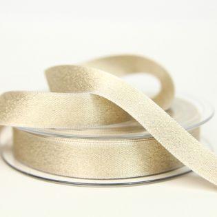 Satinband - Glitzer - gold - 15 mm - beige