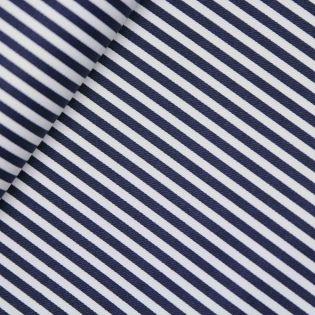 Baumwolle - Köper - Streifen - navy, weiß