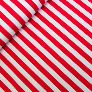 Baumwolle - Köper - Streifen breit - rot, weiß