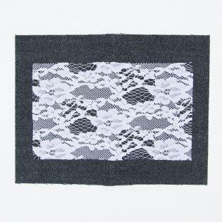 Bügelflicken - Jeans + Spitze - schwarz-weiss