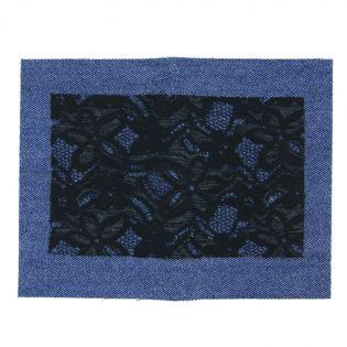 Bügelflicken - Jeans + Spitze - dunkelblau-schwarz