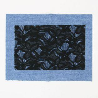 Bügelflicken - Jeans + Spitze - mittelblau-schwarz