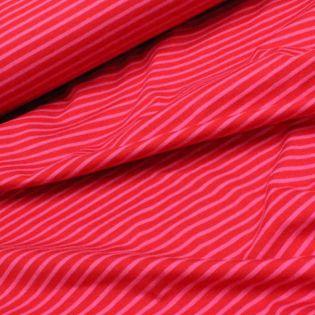 Baumwolljersey - Streifen - rot / pink