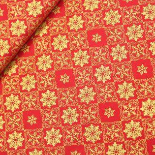 Baumwolle - Weihnachtsstern - rot-gold