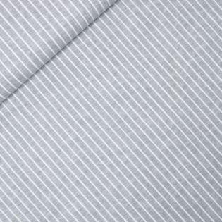 Leinen-Baumwolle - Streifen - grau
