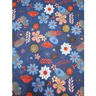 Taschenplane - Canvas - Blumen - marine