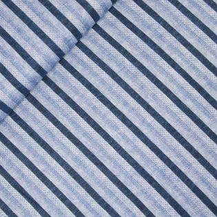Viskose-Leinen - Streifen - blau
