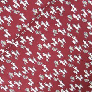 Baumwolljersey - Lamas und Kakteen - rot