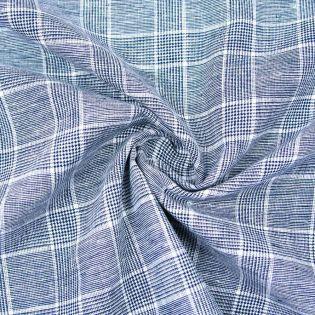 Leinen-Baumwolle - Karostoff - blau
