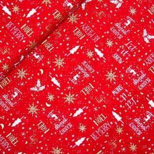 Baumwolle - Weihnachten - Let it snow - rot