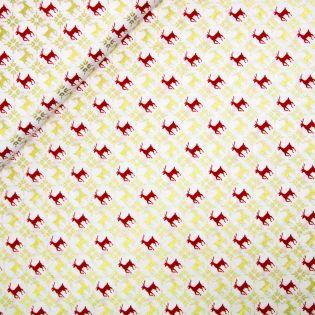 Baumwolle - Weihnachten - Goldene und rote Rentiere - weiss