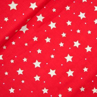 Baumwolle - Weihnachten - Goldene Sterne und weisse Punkte - rot