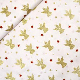 Baumwolle - Weihnachten - Goldene Engel und rote Sterne - weiss