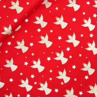 Baumwolle - Weihnachten - Goldene Engel und weisse Sterne - rot