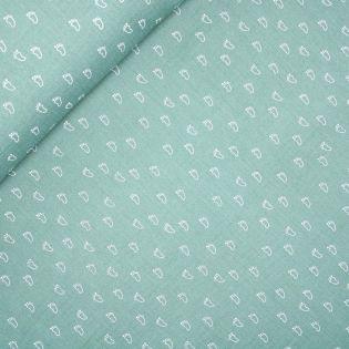 Baumwolle - Musselin - Double Gauze - Füßchen - lindgrün