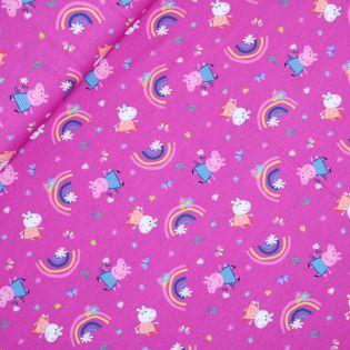 Baumwolljersey - Peppa Pig - Regenbogen - pink
