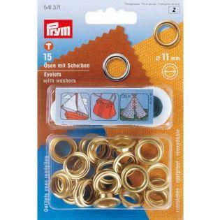 Prym - Ösen mit Scheiben - innen: 11 mm - goldfarben
