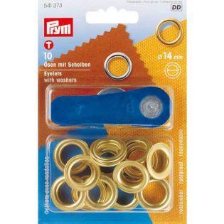 Prym - Ösen mit Scheiben - innen: 14 mm - goldfarben