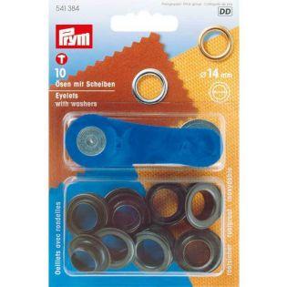Prym - Ösen mit Scheiben - innen: 14 mm - brüniert