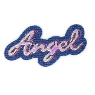 Applikation - Angel - jeans, pink