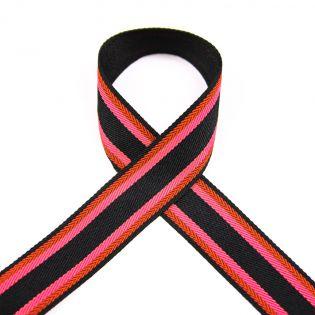 Ripsband - gestreift - pink-rot-schwarz - 25mm