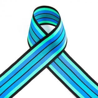 Ripsband - gestreift - blau-grün-mint - 40mm