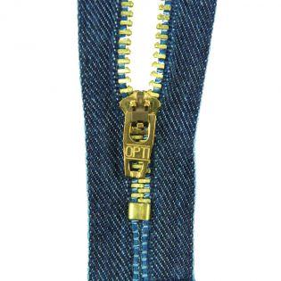 Reißverschluss Opti - M45-gold - 8cm - Feststellgriff - nicht teilbar - jeansblau