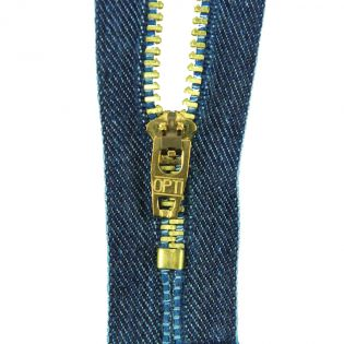 Reißverschluss Opti - M45-gold - 14cm - Feststellgriff - nicht teilbar - jeansblau