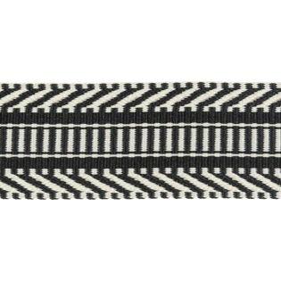 Gurtband - 38 mm - Ethno - schwarz-creme