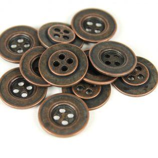 4-Loch-Knopf - 18 mm - antik-bronze