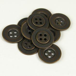4-Loch-Knopf - 18 mm - antik-brüniert