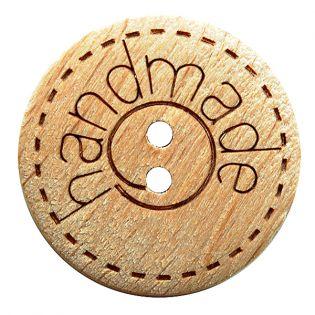 2-Loch-Knopf - 15 mm - Handmade - Echtholz