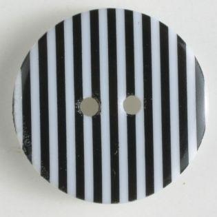 2-Loch-Knopf - 20 mm - Streifen - schwarz