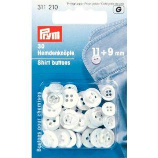Prym - 20 Hemdenknöpfe - 9 + 11mm - perlmutt