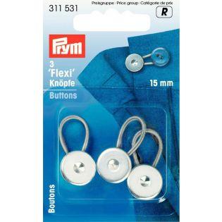 Prym - 3 Flexi-Knöpfe mit Schlaufe - 15mm - silber