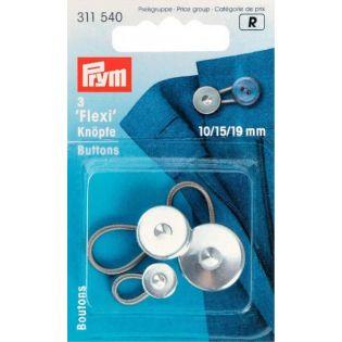 Prym - 3 Flexi-Knöpfe mit Schlaufe - 10+15+19mm - silber