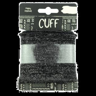 Strickbündchen - Cuff - Glitzer - schwarz